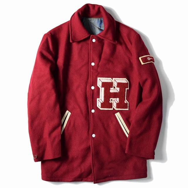 70's~80's ロングウールスタジャン 70年代 80年代 赤 ジャケット 【古着】 【ヴィンテージ】 【中古】 【メンズ】