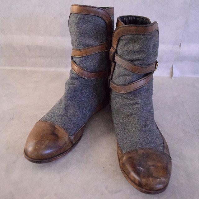 VINTAGE ITALY製 Wool × Leather Boots イタリア製 ウール レザー ブーツ デザイン 【古着】 【ヴィンテージ】 【中古】 【メンズ】