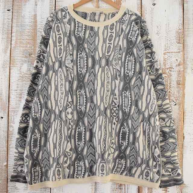 90's COOGI 柄織りウールニットセーター 2X 90年代 クージー オーストラリア製 総柄  【古着】 【ヴィンテージ】 【中古】 【メンズ】