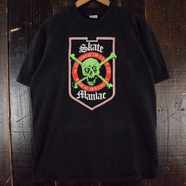 90's Skate Maniac USA製 スカルプリントTシャツ XL 90年代 アメリカ製 スケートマニアック スケボー ドクロ 骸骨 【古着】 【ヴィンテージ】 【中古】 【メンズ店】
