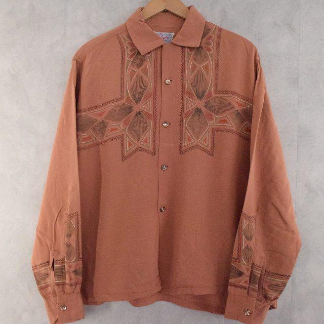50's Rugby Rayon Print Shirt L 50年代 ラグビー シャツ 開襟  【古着】 【ヴィンテージ】 【中古】 【メンズ店】
