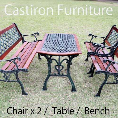 Cast Iron Furniture: Cross Table + Bench + 2 Chairs Set [F 270]