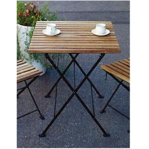 ★送料無料★ ガーデンテーブル:折り畳みアイアン・チークテーブル[F-261]【fsp2124-6f】【あす楽対応不可】【全品送料無料】