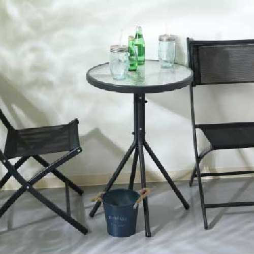 ベランダ3点セット BK[F-561]テーブル+チェアー2脚【あす楽対応不可】【全品送料無料】