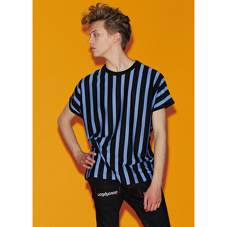 【SALE 30%OFF】 SHAREEF STRIPE CREW-NECK BIG-T (3色 Blue×Black/Mokha Pink×Black/Turquoise×White) 18535014 シャリーフ ビッグTシャツ Tシャツ ドルマンスリーブ メンズ 送料無料