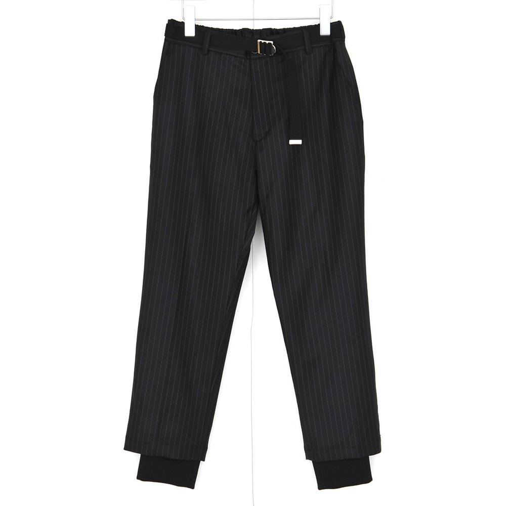 【SALE 60%OFF】 DISCOVERED RIB PANTS (2色 BLACK/GRAY) DC-SS17-PT-07 ディスカバード リブパンツ パンツ ストライプ レイヤード ウエストゴム ベルト付き メンズ 送料無料