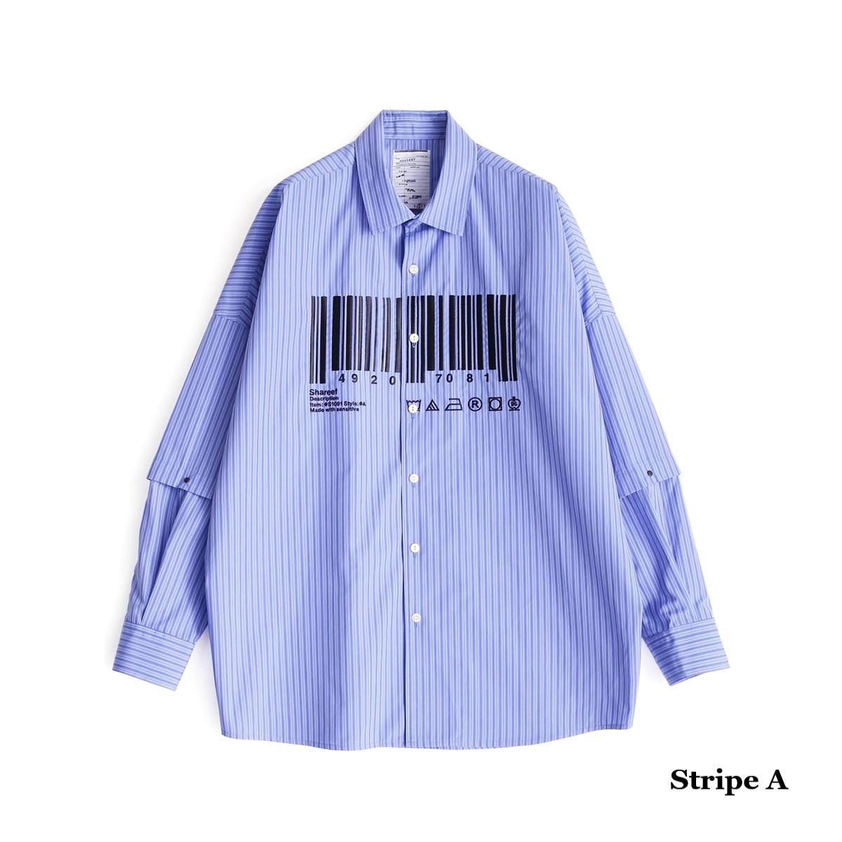 "SHAREEF ""BARCODE""SEPARATE SLEEVE SHIRTS (2色 Stripe A/Stripe B) 19533004 シャリーフ バーコード セパレート ストライプ 刺繍 ビッグシルエット シャツ メンズ 送料無料"