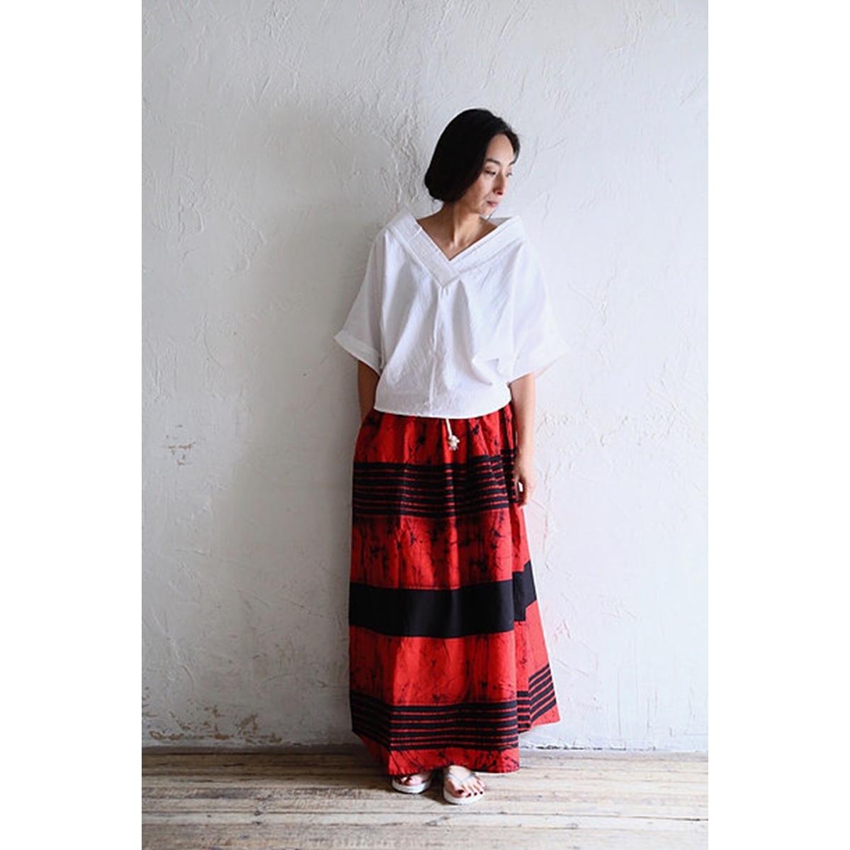 【WOMEN'S】 THE FACTORY バティック スカート (2色 Red×Black/Orange×Black) TF19SS-712 ザファクトリー ろうけつ染め 手作業 ロングスカート 日本製 ウィメンズ レディース 送料無料