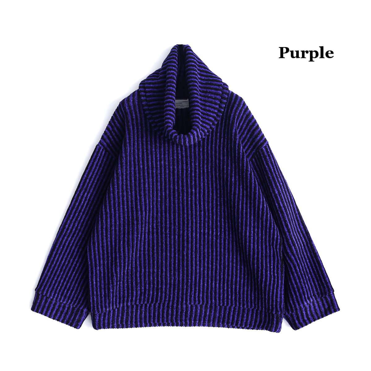 SHAREEF MOLE STRIPE PULL OVER RE-NECK (3色 Purple/Black/Red) 19715061 シャリーフ モール ストライプ プルオーバー ネックウォーマー 脱着可能 日本製 メンズ 送料無料