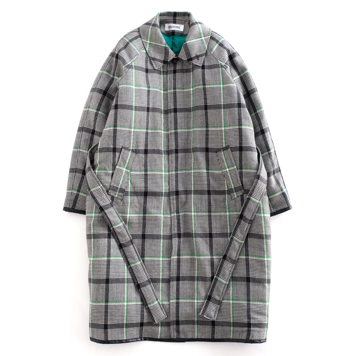 DISCOVERED CHECK COAT (2色 GREEN CHECK/RED CHECK) DC-AW19-CO-02 ディスカバード チェック グレンチェック 中綿 軽量 ビッグシルエット ロングコート コート 日本製 メンズ 送料無料