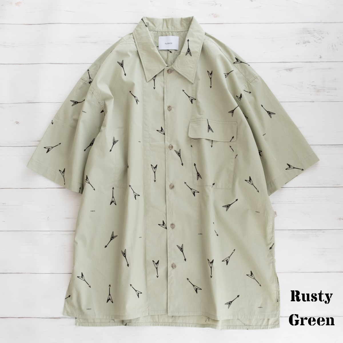 nuterm Printed Work Shirts (2色 Rusty Green/Steel Gray) nut008SH-020S ニューターム プリント ワークシャツ エレキギター ビッグシルエット シャツ 日本製 メンズ 送料無料