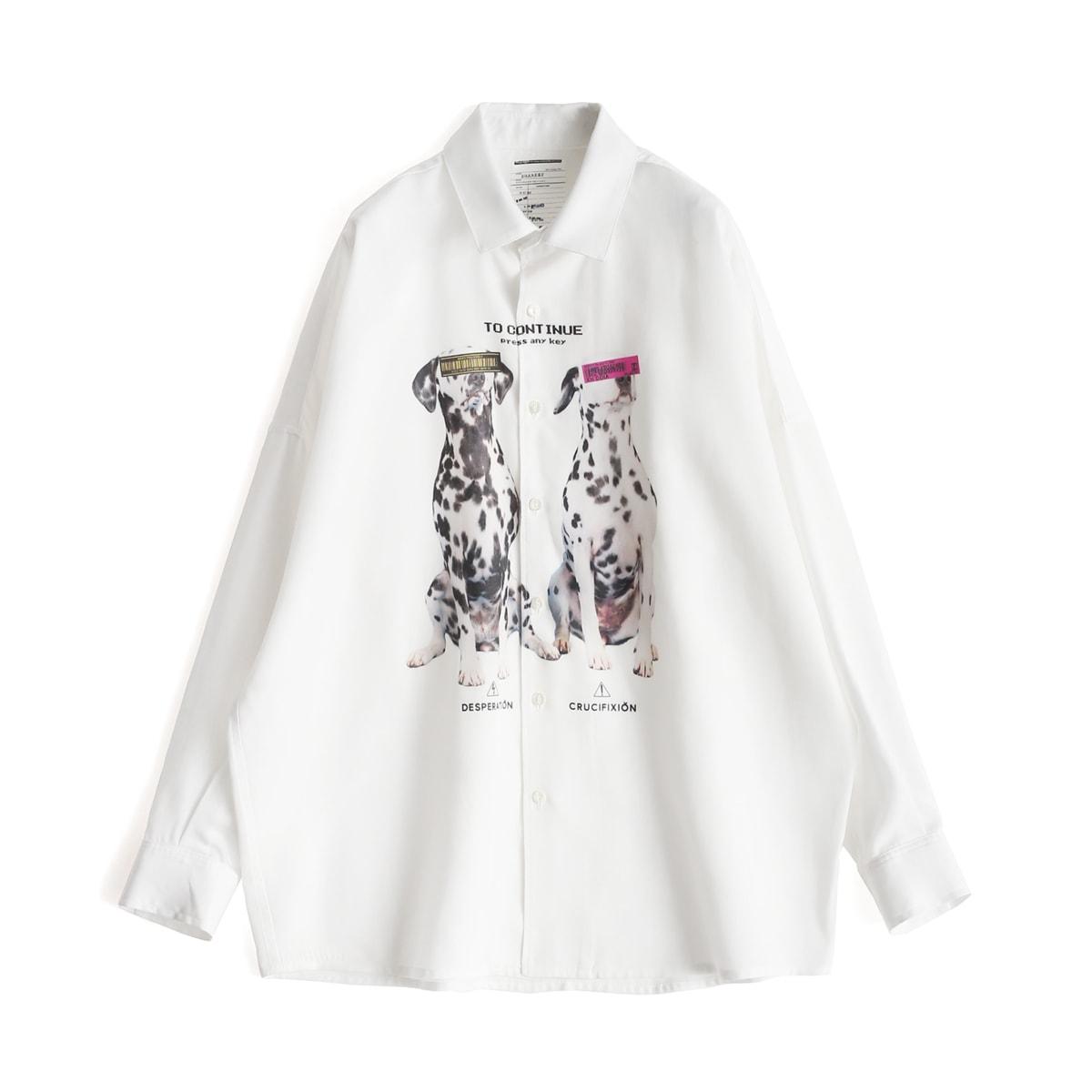 "SHAREEF ""DALMATIAN"" BIG SHIRTS (3色 White/Black/Navy) 20313020 シャリーフ ダルメシアン 犬 ビッグシャツ シャツ ビッグシルエット 日本製 メンズ 送料無料"