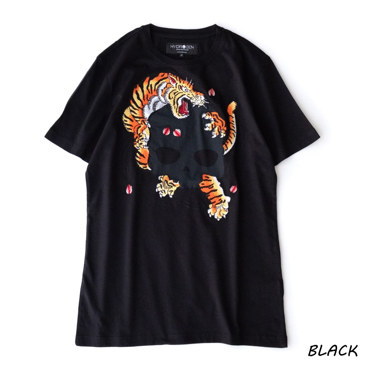 HYDROGEN TIGER HORIOKAMI TEE (2色 WHITE/BLACK) 210-22341004 ハイドロゲン タイガー ホリオオカミ Tシャツ 虎 彫狼 スカル 刺繍 立体感 躍動感 カットソー イタリア メンズ 送料無料
