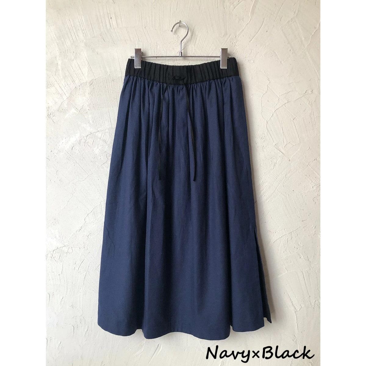 【WOMEN'S】 THE FACTORY L/C ヘリンボーン スカート (3色 Navy×Black/Natural/Brown×Mauve) TF2010703 ザファクトリー リネン 日本製 ウィメンズ レディース 送料無料