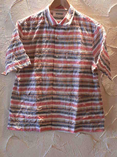 【SALE】 INTERFACE(インターフェイス)/BORDER OPEN SHIRTS WHTxREDxBLACK
