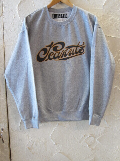 ★送料無料★BILL BOARD ビルボード/CREWNECK SWEAT SHIRTS PEANUTS GRAY