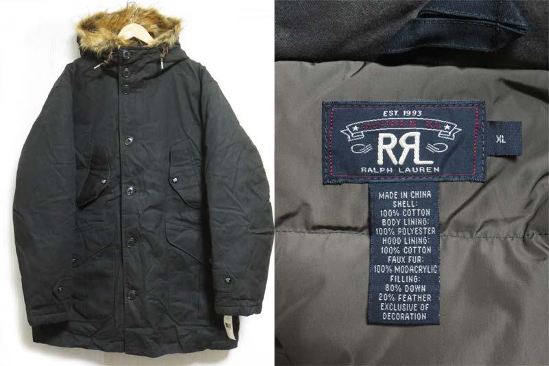 【サンプル品】Ralph Lauren RRL Washington Down Jacket ラルフローレン ダブルアールエル ワックスコットン ワシントン ダウンジャケット 黒 ブラック ビッグサイズ 表記(XL)【中古】【古着屋mellow市場店】