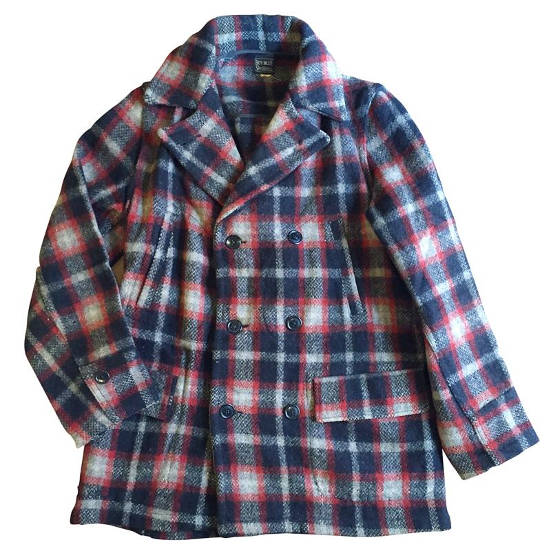 【中古】30's BOY BLUE Sportswear チェック柄 ウールピーコート 実寸(XXS~S位)【古着屋mellow市場店】