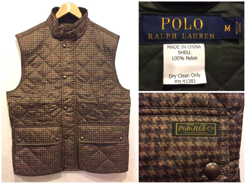 【サンプル品】Polo by Ralph Lauren/ラルフローレン ツイードプリント 中綿 ナイロンキルティングベスト 表記(M)【新品】【古着屋mellow市場店】