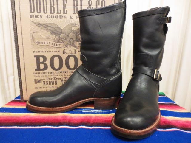 【新品】箱付き USA製 Ralph Lauren RRL ラルフローレン ダブルアールエル MURDOCK BLACK LEATHER Engineer Boots エンジニアブーツ 11 1/2 D【古着屋mellow店】