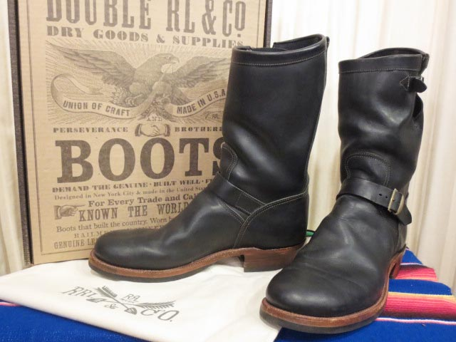 【値下げ】【訳有り】新品 箱付き USA製 Ralph Lauren RRL ラルフローレン ダブルアールエル MURDOCK BLACK LEATHER Engineer Boots エンジニアブーツ 13 D【古着屋mellow店】