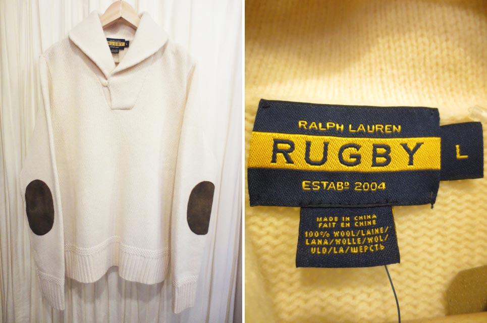 【新品】Ralph Lauren RUGBY ラルフローレン ラグビー ウールニット ショールカラーセーター 生成り (L)【古着屋mellow市場店】