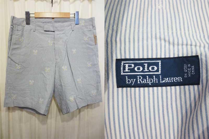 【サンプル品】POLO Ralph Lauren ラルフローレン シルク×コットン ラケット刺繍 ストライプ柄ショーツ 水色×白 表記(32)【新品】【古着屋mellow市場店】