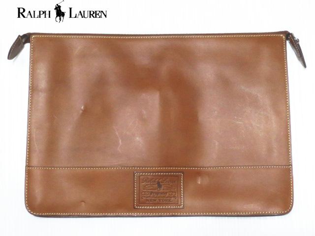 RALPH LAUREN ラルフローレン レザー クラッチバッグ ブラウン Made in ITALY 【セカンドバッグ】【Leather Zippered Folio】【新品】【smtb-m】【あす楽対応】【古着屋mellow市場店】