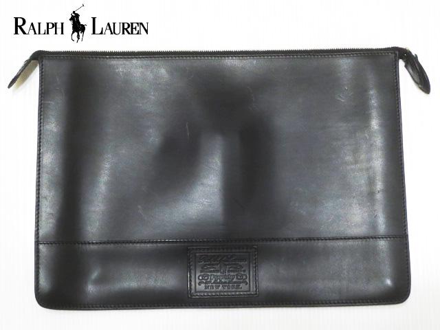 RALPH LAUREN ラルフローレン レザー クラッチバッグ ブラック Made in ITALY 【セカンドバッグ】【新品】【smtb-m】【あす楽対応】【古着屋mellow市場店】