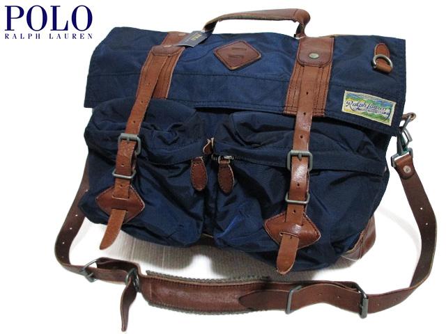 【新品】Polo Ralph Lauren ラルフローレン ナイロン×レザー メッセンジャーバッグ 紺×茶 【Nylon Messenger Bag】【ショルダーバッグ】【2WAY】【smtb-m】【あす楽対応】【古着屋mellow市場店】