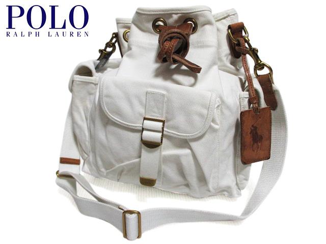 【新品】Polo Ralph Lauren ラルフローレン 巾着型 キャンバス ショルダーバッグ オフホワイト 【Canvas Drawstring Shoulder Bag】【2WAY】【smtb-m】【あす楽対応】【古着屋mellow市場店】