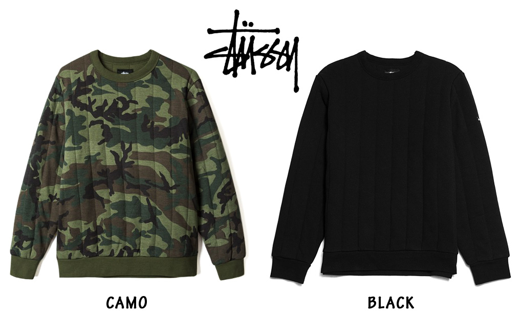 Stussy Quilted Crewneck Crew Black Long Sleeve 118208