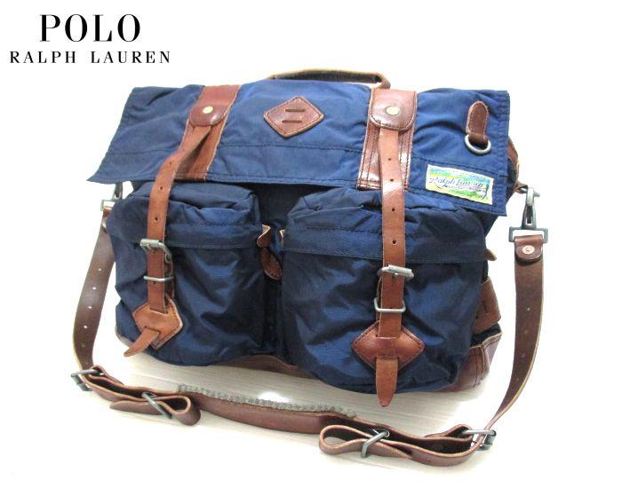 POLO RALPH LAUREN/ラルフローレン ナイロン×レザー メッセンジャーバッグ ネイビー×ブラウン 【Nylon Messenger Bag】【新品】【smtb-m】【あす楽対応】【古着屋mellow市場店】