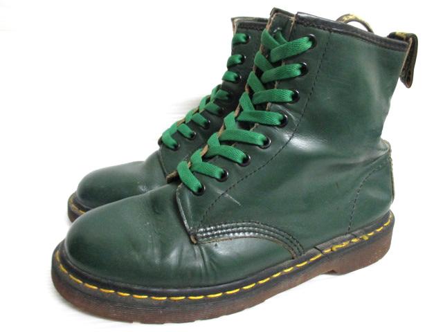 ドクターマーチン/Dr.Martens 8アイレット レザーブーツ サイズ:UK 7 グリーン Made in ENGLAND 【古着】 古着 【中古】 中古 mellow 【あす楽対応】【古着屋mellow市場店】【smtb-m】