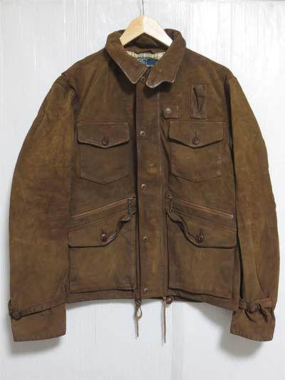 【サンプル品】POLO Ralph Lauren Rockmount Leather Jacket ラルフローレン スエードレザーハンティングジャケット 表記(M)【中古】【古着屋mellow市場店】
