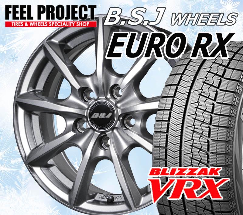 【取付対象】【送料無料】欧州車専用 EURO-RX & ブリヂストン ブリザック VRX 195/65R15 4本セット【195/65-15】