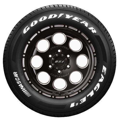 【取付対象】E26キャラバン用!JF008M(ブラッククリア)&GOODYEAR EAGLE #1 NASCAR 215/65-16C 4本セット