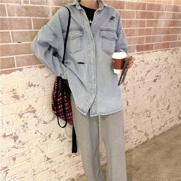 Perla ダメージデニムシャツジャケット アフター デニム シャツ ジャケット レディース ダメージ 羽織 カジュアル 2020 秋 冬 1カラー フリーサイズ