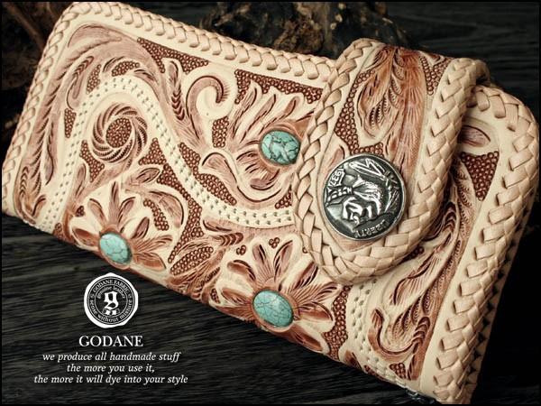 「39ショップ」【GODANE】(ゴダン)フルカービング牛革財布 大粒ターコイズが4つ
