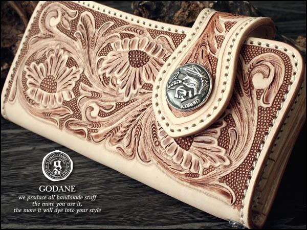 「39ショップ」【GODANE】(ゴダン)フルカービング牛革花柄財布シルバーコンチョ付 ベージュ