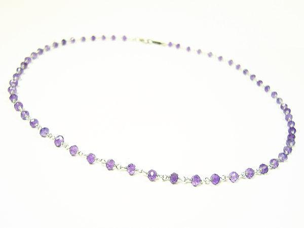 「39ショップ」天然宝石アメジスト・ジュエリーネックレス/スターリングシルバー925/ネックレス