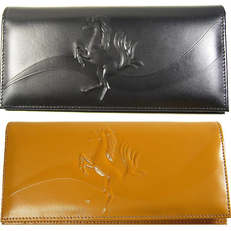 本物の高価な馬革/跳び馬=浮き彫りデザイン芦屋ダイヤモンド正規品長財布/2つ折財布