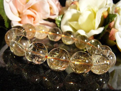 「39ショップ」コパールチルクォーツ(銅針水晶)天然石パワーストーンブレスレット14mm/1点もの