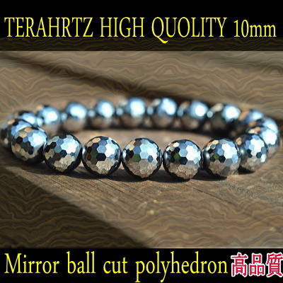舗 39ショップ 無料サンプルOK テラヘルツ鉱石10mmブレスレット高品質:多面体ミラーボールカットMサイズ19玉 内径約15~17cm