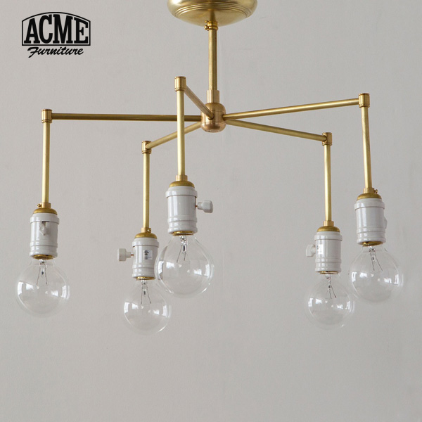 ACME Furniture(アクメファニチャー)SOLID BRASS LAMP 5ARM Porcelain(ソリッドブラスランプ5アームポーセリン)