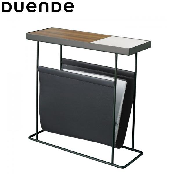 DUENDE(デュエンデ)Companion(コンパニオン)サイドテーブルブラックフレーム×ホワイトトレイwithマガジンラック