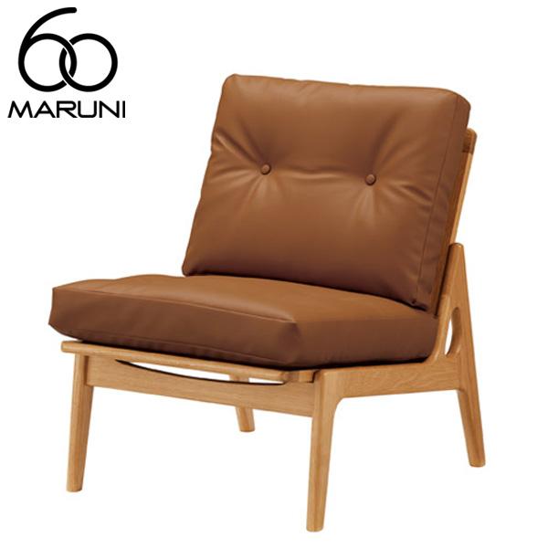 マルニ60オークフレームチェアアームレス・ナチュラル塗装ビニールレザー・ブラウン