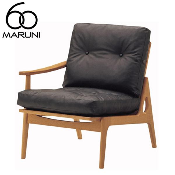 マルニ60オークフレームチェアシングルアーム座右肘・ナチュラル塗装ビニールレザー・ブラック