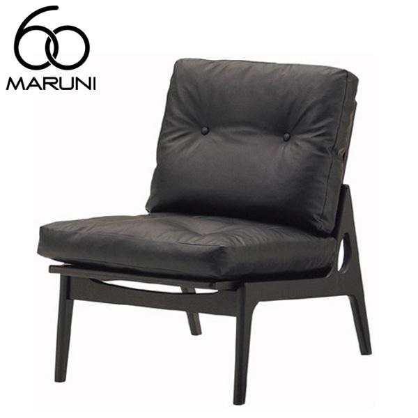 マルニ60オークフレームチェアアームレス・ブラック塗装ビニールレザー・ブラック
