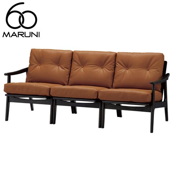 マルニ60オークフレームチェア3シーター・ブラック塗装ビニールレザー・ブラウン